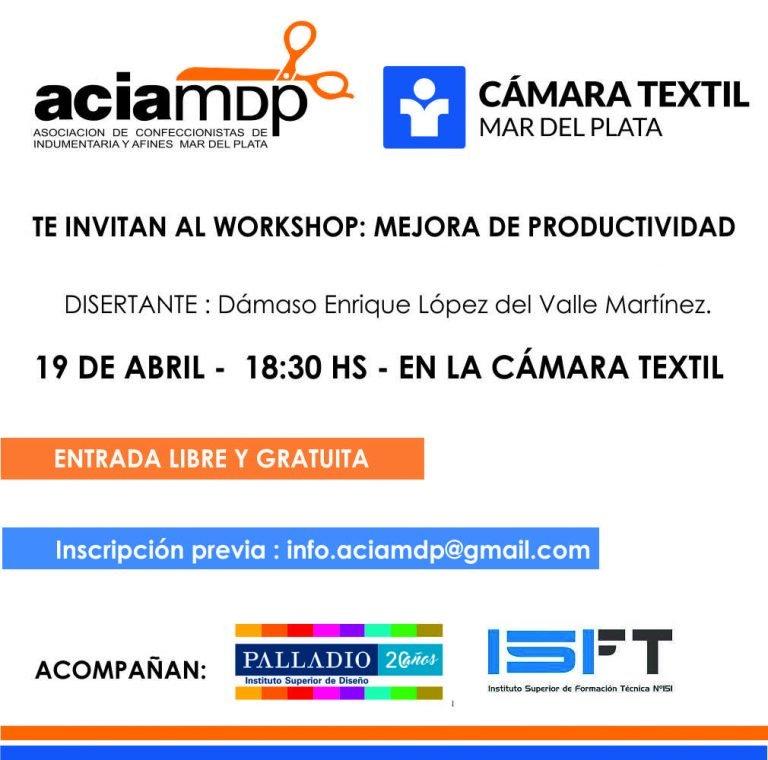 Charla Abril Workshop Gratuito Sobre Mejora En La Productividad - Empresas Textiles