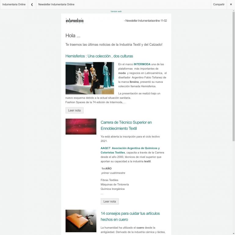 Newsletter Indumentaria Online 3 Newsletter Indumentariaonline / 2ª Semana De Febrero - Noticias Breves