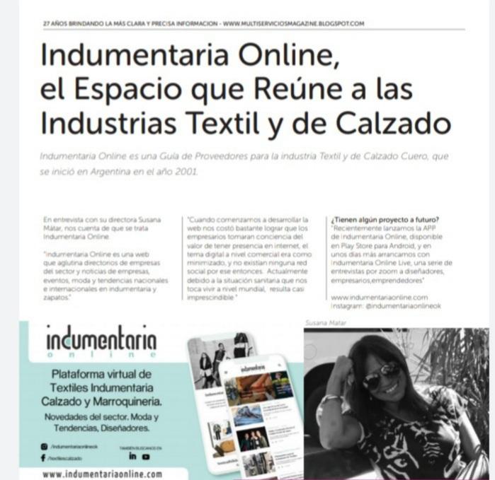 Indumentaria Online En La Revista Multiservicios 3 Indumentaria Online En La Revista Multiservicios - Prensa