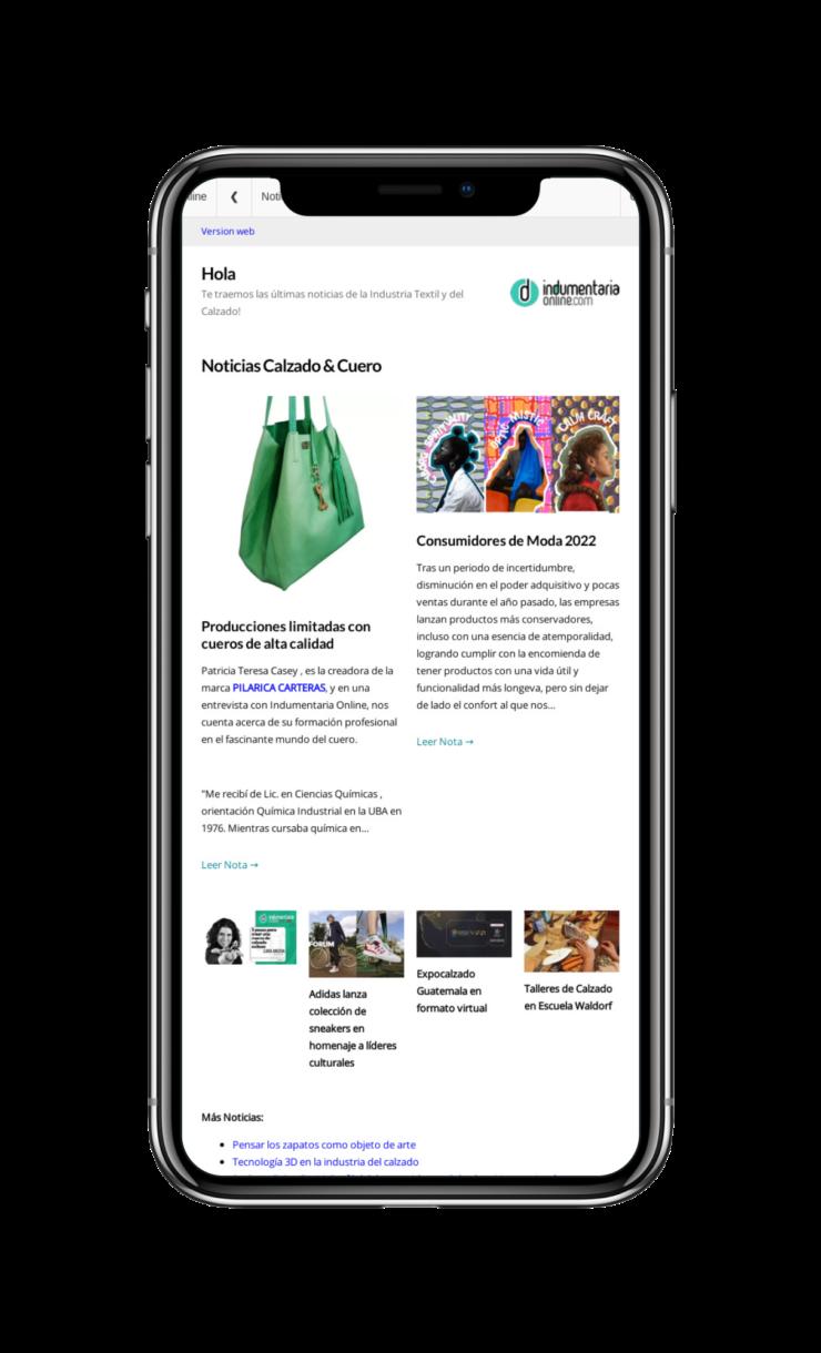 Indumentariaonline Com 800X1280Tablet 2A7Bed Iphone X Newsletter Indumentaria Online De Noticias De Textiles Indumentaria Y Calzado - Noticias Breves